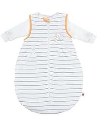 Ganzjahres Baby-Schlafsack 2-teilig - Langarm-Innensack & gefütterter Außensack | Temperaturen von 15 bis 30°C | Streifen Beige Schäfchen | Birnenform ohne störende Rücken-Nähte (1-12 Monate)