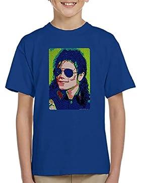 POD66 Michael Jackson Sunglasses Neon Pixelated Effect Kid's T-Shirt