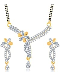 Amaal Mangalsutra Pendant Set With Earrings For Women Girls Jewellery Set Gold Plated In Cz American Diamond MSPT0105