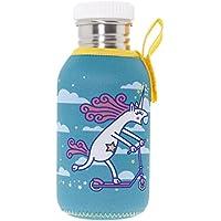 Katuki Saguyaki - Botella Infantil de Acero Inoxidable 18/8 con Tapón de Rosca y Funda de Neopreno