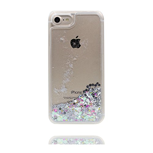 Hülle iPhone 7, [ Liquid Fließendes Glitzer Bling Bling ] iPhone 7 Handyhülle Cover (4.7 zoll), Floating sparkles, iPhone 7 Case Shell Anti-Beulen & Staubstecker Größerer Flamingo # 8