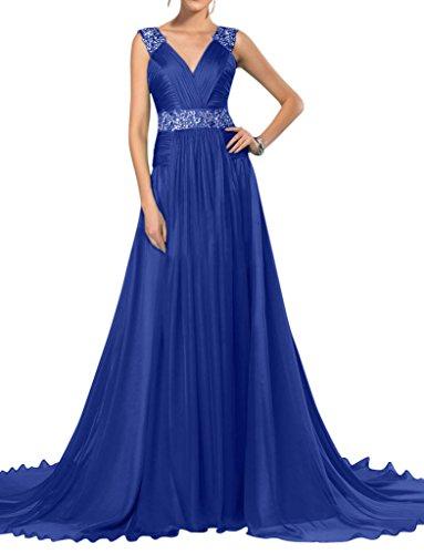 Sunvary semplice collo a-line voile d'onore abito da sera, da donna Blu reale