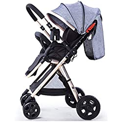 Amberzcy 4-Rad Kinderwagen, Reise System Kinderwagen & Luxus Kinderwagen (Farbe : Gray3)