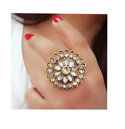 Darshini Designs Big Size Party wear kundan Ring for Girls and Women