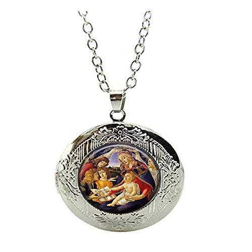 Collar con medallón de Nuestra Señora de Guadalupe Sagrado Corazón Virgen María Religiosa católica Joyería Arte Colgante Regalo