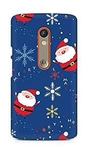 Amez designer printed 3d premium high quality back case cover for Motorola Moto X Play (Santa claus set lettering snowflake)