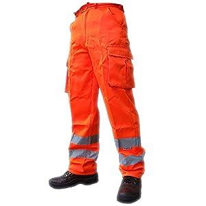 Pantalones para seguridad laboral y ferroviaria, para hombre, de alta visibilidad.