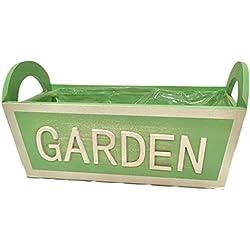 Pide X esa Boca Garden - Macetero de madera, color verde