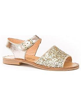 Sandalias para Niñas en Glitter, Todo Piel mod.568. Calzado Infantil Made in Spain, Garantia de Calidad.