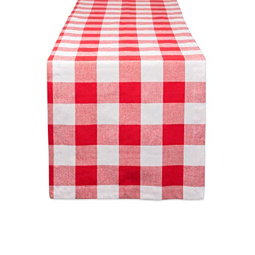 DII CAMZ11241 Cotton Buffalo Check Table Runner for Family Dinners or Gatherings, Indoor or Outdoor Parties, Everyday Use 14x108, Red (Black Light Table Cloth)