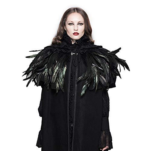 CNNIK Handgemachte natürliche Schwarze Feder Kragen Cape Schal der 1920er Jahre Gatsby Kostümzubehör Halloween Schal