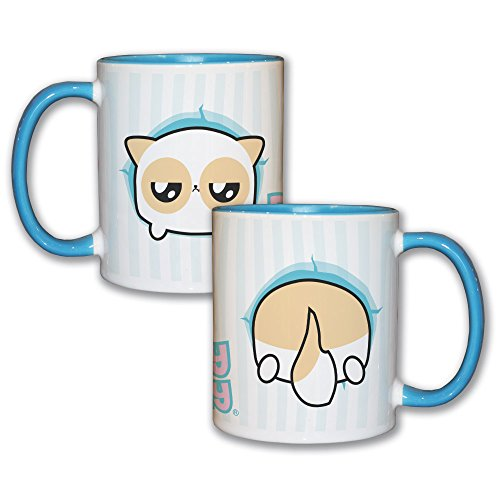 Mug bleu ciel recto verso Pouny Pouny Face / Bottom Chibi et Kawaii - Fabriqué en France - Chamalow Shop