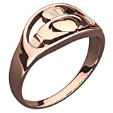 GWG® 18K Roségold vergoldetes Sterlingsilber Claddagh Ring für Frauen Hände, die Ihr Herz mit Krone auf der Oberseite – 6