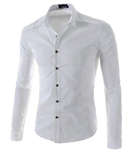 Ghope Chemise slim fit homme tailles S à XXL 3 couleurs Coton Casual Hommes Chemise Manches Longues Trend Fashion Shirt Blanc