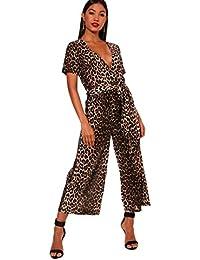 Damen Braun Jumpsuit mit Hosenrock und Janette Leoparden-Print und Wickelung 3086e7ee69