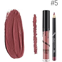 Kiss Beauty Matte Liquid Lipgloss Lipstick and Lip Liner with 5 Shade (7652-5)