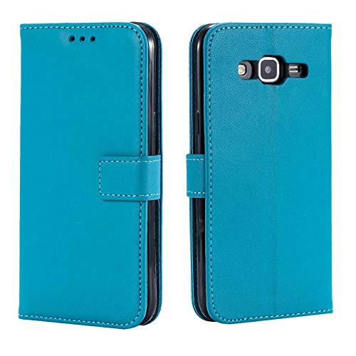 DENDICO Funda Galaxy Grand Prime, Funda Delgada de Cuero para Samsung Galaxy Grand Prime, Magnetico Carcasa Libro [Ranuras para Tarjetas] [Cierre Magnético] - Azul