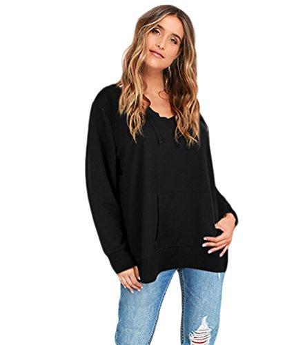 Baymate Femme Sweat-Shirt à Capuche Profond Col V Manche longue Casual Tops Noir