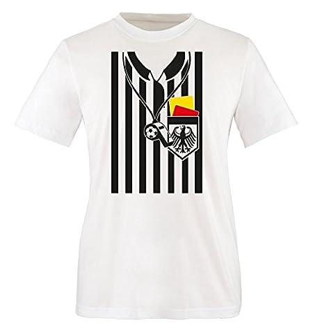 Comedy Shirts - SCHIEDSRICHTER KOSTÜM - Kinder T-Shirt - Weiss / Bunt Gr. 98-104 (Schiedsrichter T-shirts Kostüm)
