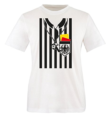 Comedy Shirts - SCHIEDSRICHTER KOSTÜM - Herren T-Shirt - Weiss / Bunt Gr. XL (Schiedsrichter T Shirts Kostüm)