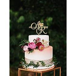 Zwei Initialen mit Herz und Datum, personalisierbar, Hochzeits-Datum, 2 Buchstaben, Tortenaufsatz, Pfeilaufsatz, rustikales Monogramm, Boho-Hochzeit