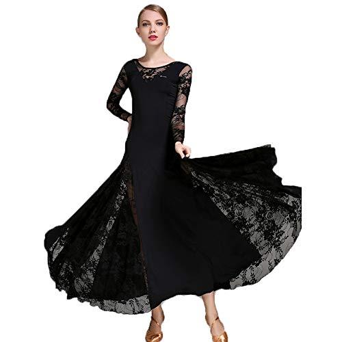 Liu Sensen Frauen Latin Dance Kleid Bauchtanz Rock Walzer Lange Ärmelkleid Schwarze Spitze Milch Seide Ballsaal Tanzen Professionelle Tänzer Kostüm Große Größe XL 2XL,XL