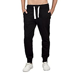 Bewakoof.com Jet Black Slim Fit Joggers Mens Jogger Pants