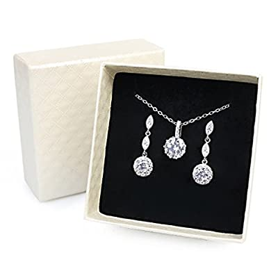 iMing Fashion Earrings Necklace Cubic Zirconia Round-Cut Halo Stud Dangle Earrings Necklace Jewelry Set from iMing