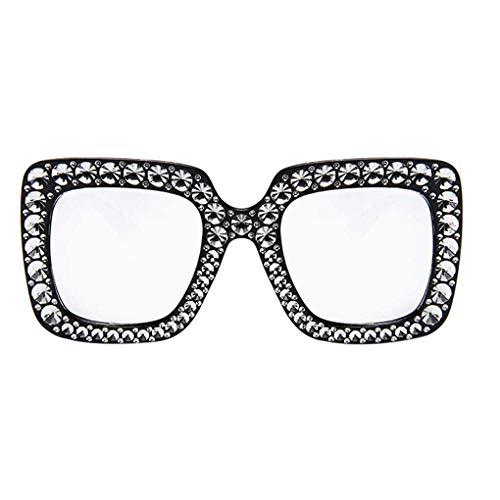 BoburyL Frauen-Mädchen-Men-Platz Sonnenbrillen Damen Personality-Kristallüberzug Brillen Strand Brillen