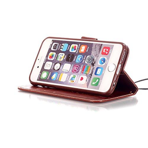6 Plus / 6S Plus Hülle,6 Plus / 6S Plus Case,Cozy Hut ® Ultra Slim Flip Lederhülle / Ledertasche / Hülle / Case / Cover / Etui / Tasche für iPhone 6 Plus / 6S Plus (5,5 Zoll) / 3D Diamant Strass Bling braun Schmetterling