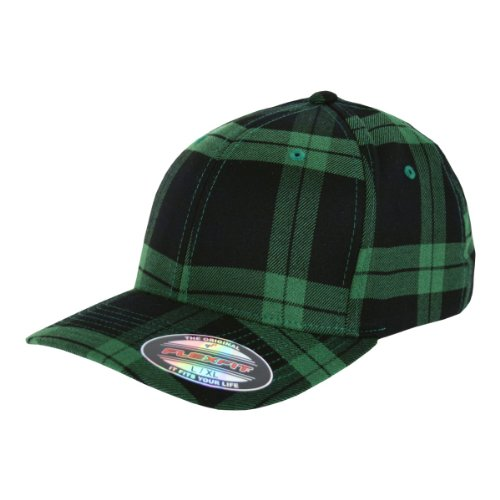 Flexfit Karo Cap Tartan Plaid Kappe green black - S/M