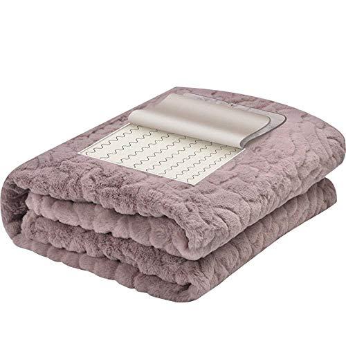 Dicke flauschige warme rosa Bettdecke 15V Niedrigdruckfernes Infrarot Elektrische Heizdecke mit automatischem Schließen, schnelle Heizdecke, Ganzkörpererwärmung, dreistufige Heizeinstellung unter Verw