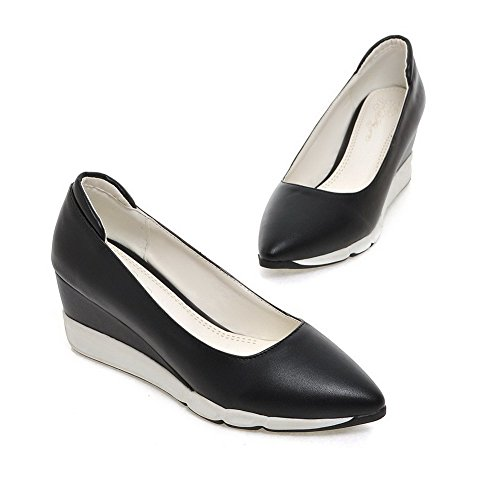 VogueZone009 Femme Pointu Fermeture D'Orteil à Talon Correct Couleur Unie Chaussures Légeres Noir