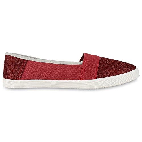 Damen Slipper Metallic Slip-ons Ballerinas Freizeit Schuhe Flats Rot Gestreift