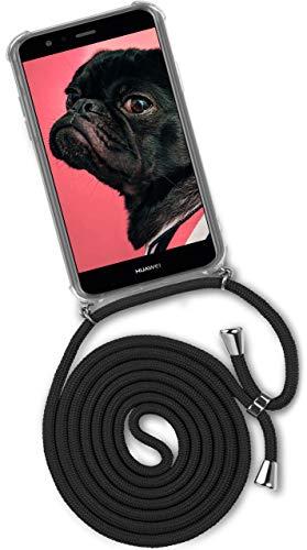 ONEFLOW® Handykette passend für Huawei P10 Lite   Stylische Kordel Kette - Kristallklare Handyhülle mit Band zum Umhängen in Schwarz