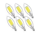 E14 Kerze LED Lampe C35 6W Glühfaden LED Kerze Lampe Glühlampe AC 220V-240V 6000K Kaltweiß 600 Lumen Ersatz für 60W Glühlampen Tropfen Form 360° Abstrahlwinkel 6er-Pack (6)