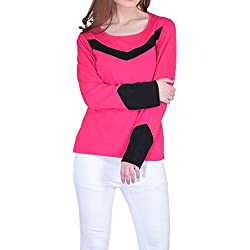 Vivid Bharti Women's Cuff Black Dark Pink Full Sleeve Cotton Tee (Premium Quality T-Shirt) (SW143-2XL)