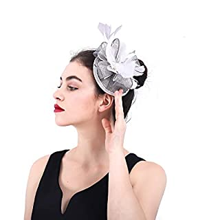 SUPRIEEHJ Mesh Headband Female Elegant Fascinator Feather Flower Wedding Hairpin Headdress Royal Ascot Cocktail Tea Party (Color : Grey)