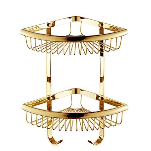 BinLZ Regale Duschraum Fine Copper Racks Ablagekörbe Eck Dreieck Korb Korb Duschraum Ablagezubehör Anhänger Antique 2 Layer Gold -