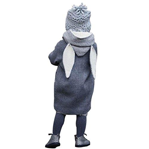 Lenfesh Baby Nette Kaninchen Winter Kapuzenmantel Jacke Dicke warme Kleidung (90/ 2T, Grau)