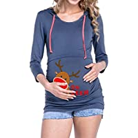 LILICAT☃ Mujeres de Navidad Impresión Fawn Mujeres Embarazadas Cuidado Empalme Camiseta de Manga Larga con Capucha de Maternidad Tops de enfermería Blusa con Capucha