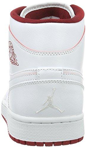 Nike Air Jordan 1 Mid, Baskets Basses Homme, 47 EU Blanc - Weiß (103 WHITE/GYM RED-BLACK)