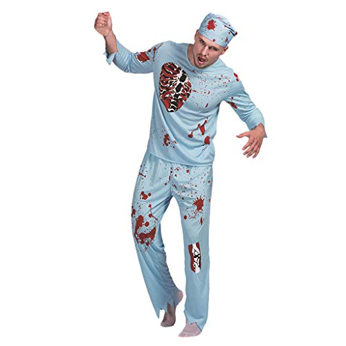 LOPILY Kostüme Unisex Doktor Zombie Kostüme mit Kunstblut Druck Gruselige Faschingskostüme Erwachsenen Doktor Suits für Halloween Party Karneval Bekleidung Zombie (Shirt+Hose+Hut) (Blau, M) (Zombie Kostüm Selbstgemacht)