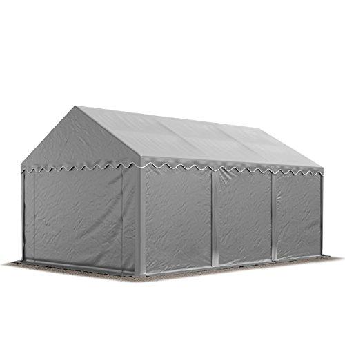 TOOLPORT Lagerzelt Unterstand 4 x 6 m in grau Weidezelt 500g/m² PVC Plane nach DIN wasserdicht