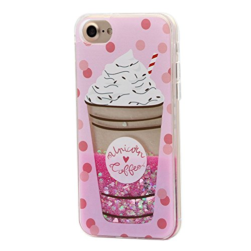 Keyihan iPhone 6 / 6S Handy Hülle für Mädchen Süß Niedlich Rosa Style Glänzend Dynamisch Flüssig Glitzeree Treibsand Hart Kunststoff Schutzhülle für Apple iPhone 6 6S (EIS Eistüte) -