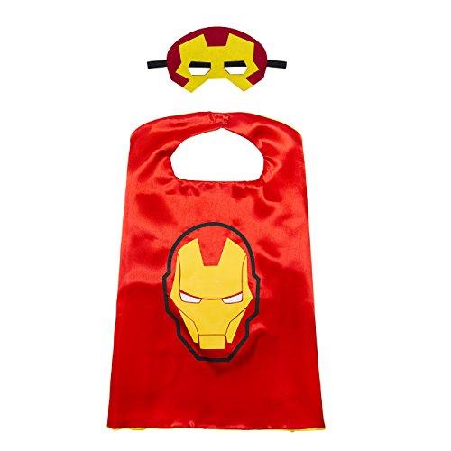 Kiddo Care 1 Satz von Iron Man Superheld Kostüm, Maske, Kap, Satin (Boys) (Ironman-halloween-kostüm)