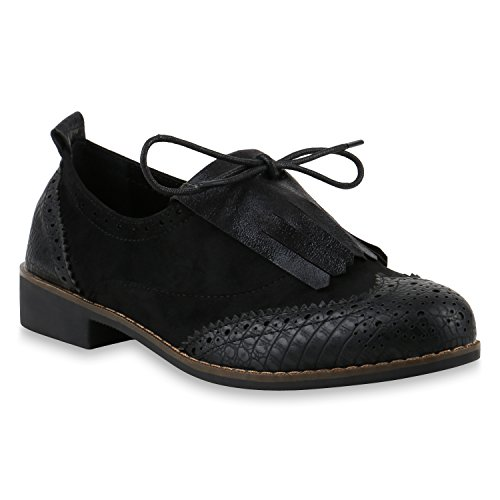 Damen Halbschuhe Klassische Schnürer Fransen Metallic Schuhe 145939 Schwarz Fransen 37 | Flandell® (Gefütterte Klassische Halbschuhe)