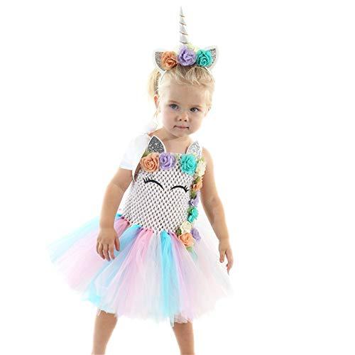 KALUNBS Baby Mädchen Einhorn 1. Geburtstag Party Outfit Kleinkinder Erster Geburtstagskleid Tütü Prinzessin Rock Kurzarm Strampler Blumen Stirnband Fotoshooting Kleidung Geschenk Outfits Set