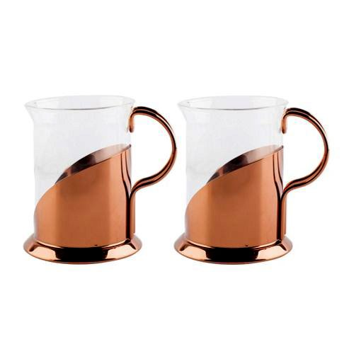 La Cafetiere Roma 2 Piece Small Glass and Copper Coffee / Tea Cup Mug 200 ml 9.5cm x 6.5cm