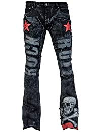 daf3cbac5870 Hibote Women Ripped Jeans Gothic Comfortable Skinny Stretch Denim Trousers  with Zipper Middle Waist Straight Leg Casual Long Pants…